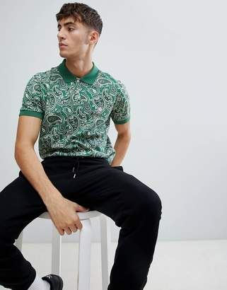 Pretty Green tonal paisley polo shirt in green