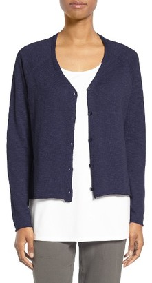 Women's Eileen Fisher Slubbed Organic Linen & Cotton Cardigan $178 thestylecure.com