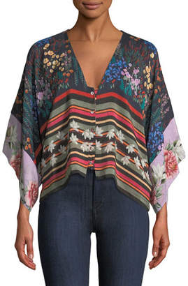 Johnny Was Angie Mixed-Print Button-Front Shrug Shirt/Jacket