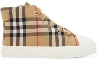 Burberry Check Gabardine High Top Sneakers