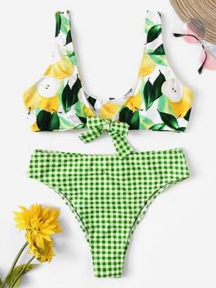 Shein Random Pear Top With Gingham Bikini Set