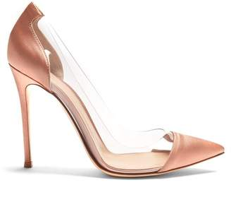 Gianvito Rossi Plexi 105 Satin Pumps - Womens - Nude