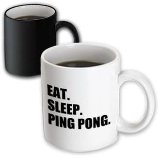3dRose Eat Sleep Ping Pong - sport humor fun text gift for table tennis fans - Magic Transforming Mug, 11-ounce