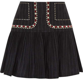 Etoile Isabel Marant Jessie Embroidered Pinstriped Linen Mini Skirt - Navy