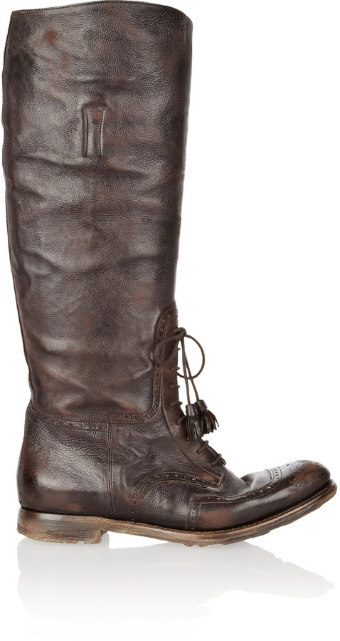 Church's Shanghai distressed-leather knee boots