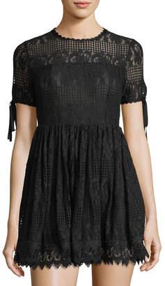 Romeo & Juliet Couture Illusion-Yoke Lace Fit & Flare Dress