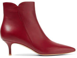 Gianvito Rossi Levy 55 Leather Ankle Boots - Burgundy