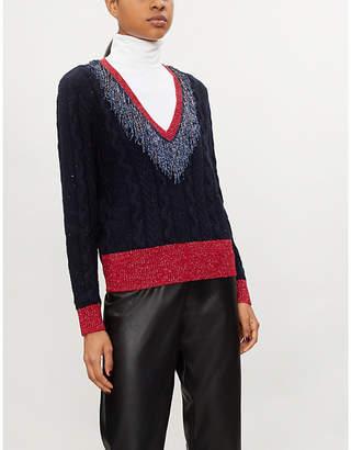 Pinko Aerangis V-neck metallic-knit jumper