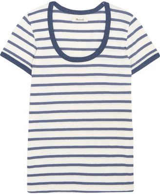 Madewell - Grayson Striped Cotton-jersey T-shirt - Blue $30 thestylecure.com