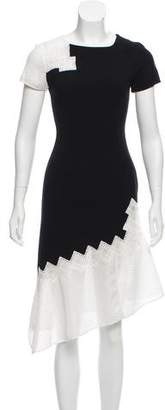 Jonathan Simkhai Caged Knit-Accented Asymmetrical Dress