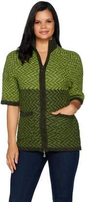 Aran Craft Wool Elbow Sleeve Zip Front Cardigan
