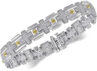 Macy's Men's Diamond Two-Tone Link Bracelet (1/2 ct. t.w.) in Sterling Silver & 14k Gold-Plate