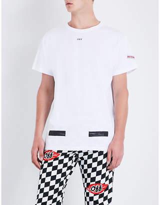 Off-White C/O Virgil Abloh Logo-print cotton-jersey T-shirt $215 thestylecure.com