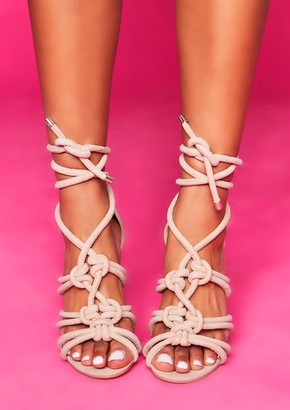 6e38f3d5180 Missy Empire Missyempire Kelly Nude Knotted Tie Up Strappy Heels