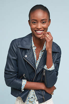 Anthropologie Shrunken Vegan Leather Moto Jacket