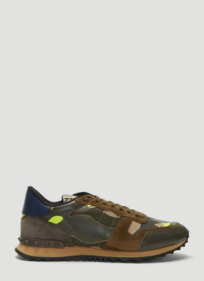 Valentino Rockrunner Camouflage Sneakers in Green