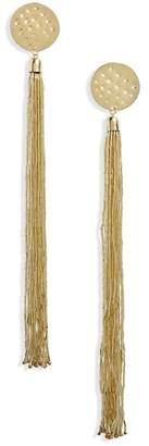 Panacea Hammered Disc Tassel Earrings