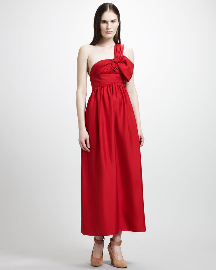 Chloé One-Shoulder Silk Twill Bow Gown