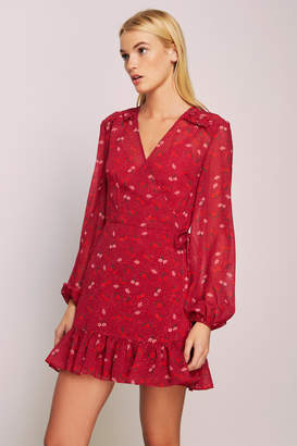 THE FIFTH ROSIE LONG SLEEVE WRAP DRESS cherry w red rose