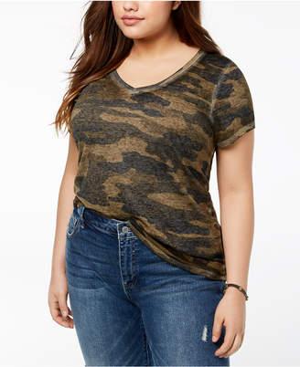 Lucky Brand Trendy Plus Size Cotton Camo-Print T-Shirt
