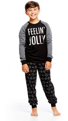 HOLIDAY #FAMJAMS Holiday Famjams Black and Gray FairIsle 2 Piece Pajama Set - Boy's