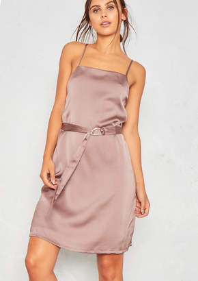 Missy Empire Missyempire Sara Mink Satin D-Belt Slip Dress