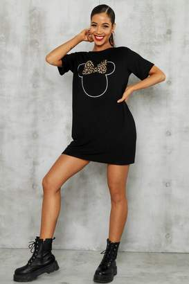 boohoo Disney Minnie Leopard Bow Tshirt Dress