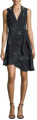 Haute Hippie Silk Paisley Blazer Dress w/ Asymmetric Hem