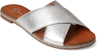 Jessica Simpson Platinum Brinella Metallic Leather Slide Sandals