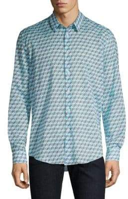 Vilebrequin Cotton Voile Fishes Cube Button-Down Shirt