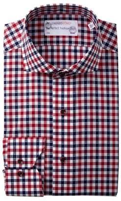 Lorenzo Uomo Diamond Dot Gingham Trim Fit Dress Shirt