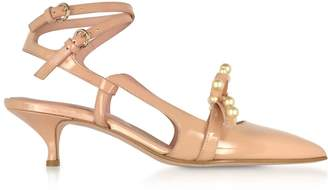 RED Valentino Geometric Bow Nude Patent Leather Slingback Shoes