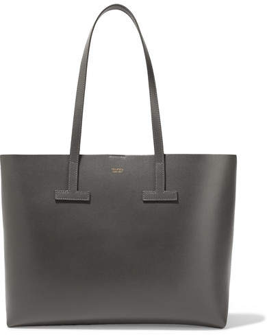 TOM FORD - T Small Textured-leather Tote - Gray