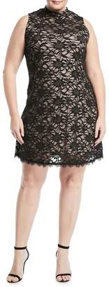 Neiman Marcus Mock-Neck Lace Mini Dress, Plus Size