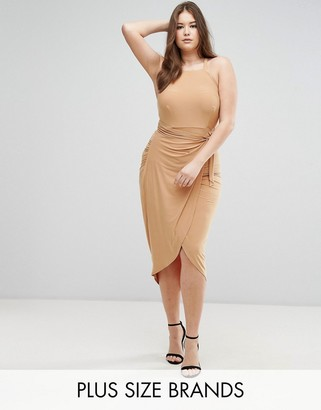 Club L Plus High Neck Wrap Front Slinky Midi Dress $35 thestylecure.com