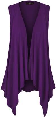 Made by Johnny WSK1071 Womens Lightweight Sleeveless Draped Open Cardigan XL Dark_Purple