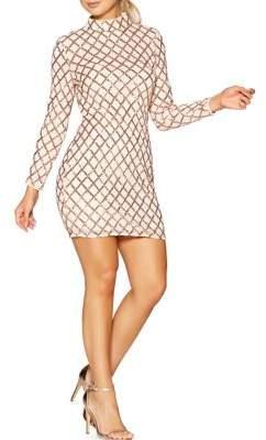 Quiz Lattice-Sequin Mini Dress