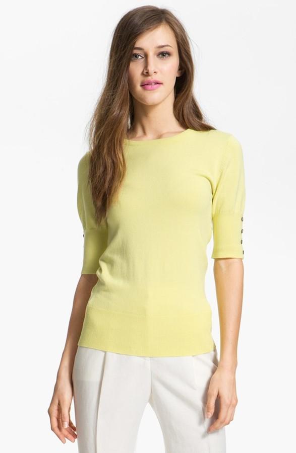Isaac Mizrahi New York Elbow Sleeve Crewneck Sweater