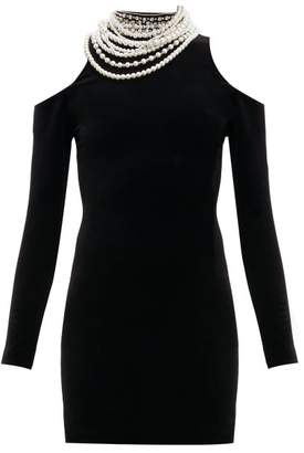 Balmain Pearl Cut Out Shoulder Velvet Mini Dress - Womens - Black
