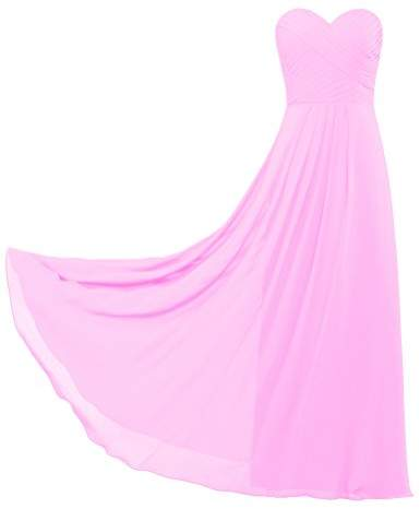 ANTS Women's Sweetheart Chiffon Bridesmaid Dresses Long Party Gown Size US