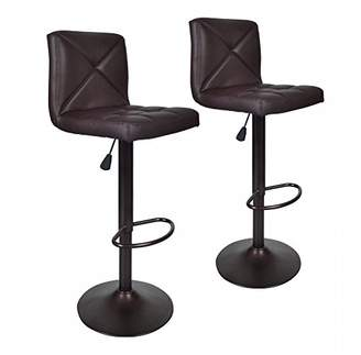 BestOffice Brown 2 PU Leather Modern Adjustable Swivel Barstools Hydraulic Chair Bar Stools