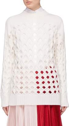 Oscar de la Renta Virgin wool-cashmere open knit sweater