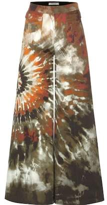 Valentino Printed wide-leg cotton trousers