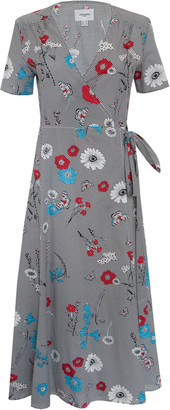 Jovonna London Multi It's A Wrap3 Floral Printed Wrap Cotton Dress - UK8 - Blue/Red/Black