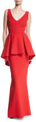 Chiara Boni Mavi Sleeveless Gown with High-Low Peplum