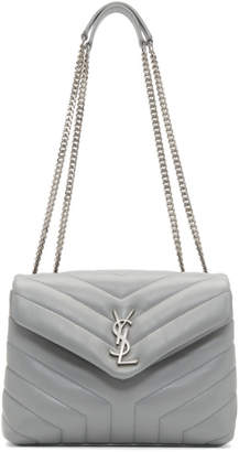 Saint Laurent Grey Quilted Small Loulou Chain Bag