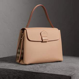 Burberry Medium Grainy Leather and House Check Tote Bag