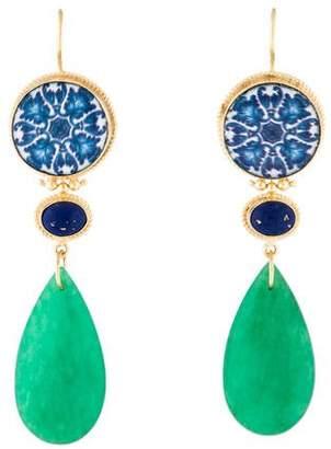 Tagliamonte Dyed Quartzite & Ceramic Drop Earrings