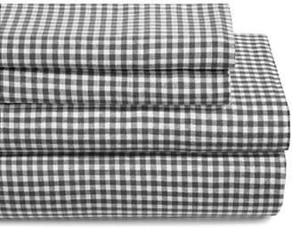 GLUCKSTEINHOME Gingham Turkish Cotton Flannel Sheet Set