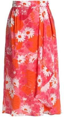 Michael Kors Draped Floral-Print Silk-Chiffon Wrap Skirt